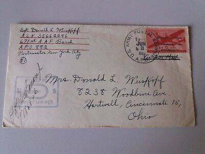 Cover Envelope +letter june 1945 US Army post 6 c Ohio passed - red cross