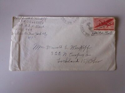 Cover unopened Envelope +letter jan 1946 US Army post 6 c Ohio  plane stamp