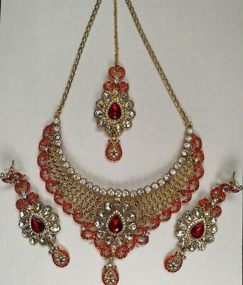 Indian Bollywood Red Gold Crystal Jewellery set Necklace, Earring, Tikka
