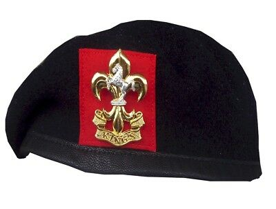 KINGS REGIMENT  NAVY BLUE BERET & CAP BADGE  SIZE 52-62 cm  VETERAN