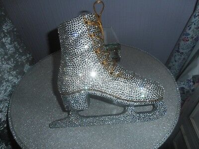 large silver and gold diamante ice skate/boot,for wallhanging or ornament/statue