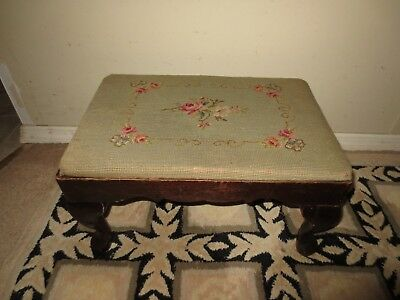 Antique Solid Wood Frame Footstool Cushion Seat Ottoman Pouf Vintage Furniture