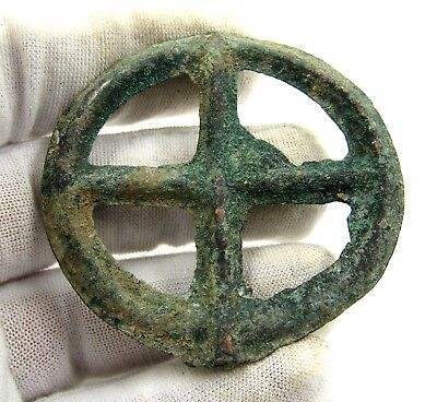 Authentic Ancient Celtic Bronze Sun Pendant / Amulet - Wearable - E286