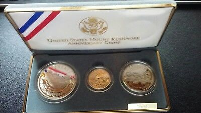 1991 3 Coin Proof Set US Mount Rushmore Anniversary Coins