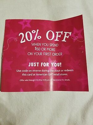 American girl doll coupon 20% off when you spend $50 or more on your first order