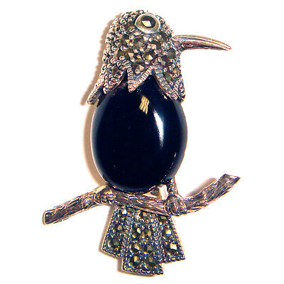ONYX BIRD PARROT PIN / BROOCH Black Onyx Stone & Marcasite .925 STERLING SILVER