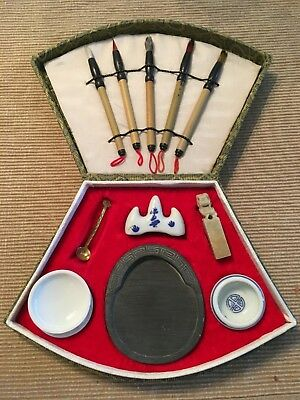 Chinese Calligraphy Set, 5 Brushes, Wax Stone, Porcelains, Spoon, Red INK/Wax