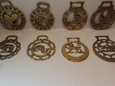 Vintage Lot of 8 Solid Brass Horse Medallions Cat Lion Dog Elephant Rooster Fish