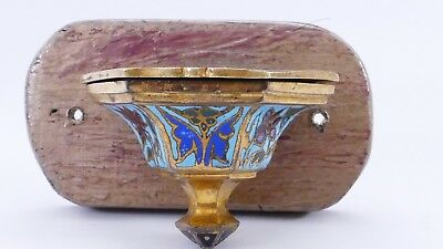 antikes altes WEIHWASSERBECKEN Jugendstil Emaille Cloisonne Messing Barock