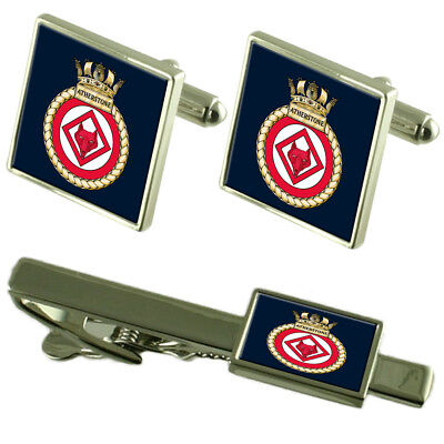 Royal Navy HMS Atherstone Tie Clip Cufflinks Box Set