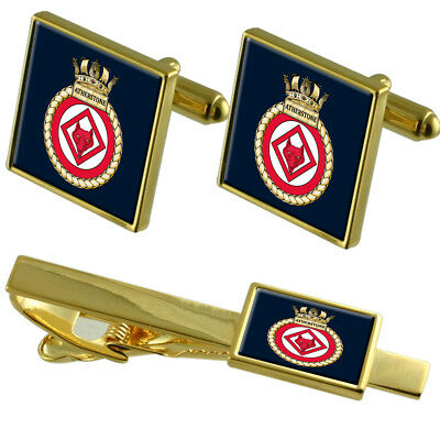 Royal Navy HMS Atherstone Gold Tie Clip Cufflinks Box Set
