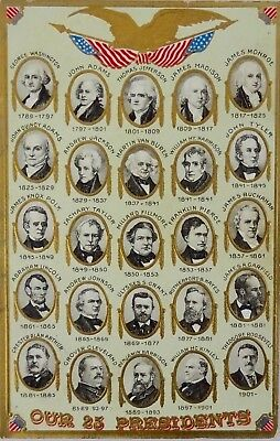 Our 25 Presidents post card ca. 1900's unposted