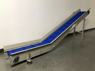 """Masipack incline cleated conveyor. Pack off conveyor for VFFS. Belt 12"""" wide."""