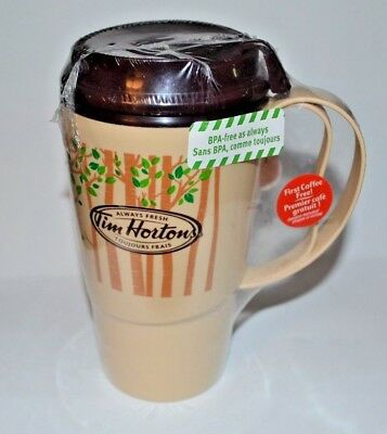 Tim Hortons Plastic Travel Mug 2012 Tan Brown Trees 16 oz Thermo Serv USA (NEW)