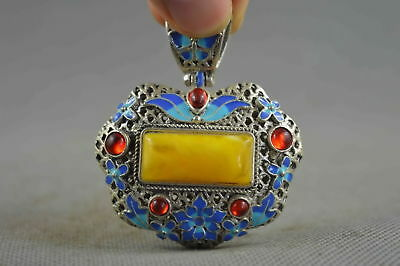 Collectable handwork Decor Miao Silver Inlay Amber Carve Flower Royal Pendant