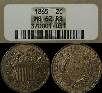 1865 Copper Two Cent Piece NGC MS 62 RB - Uncirculated Red and Brown