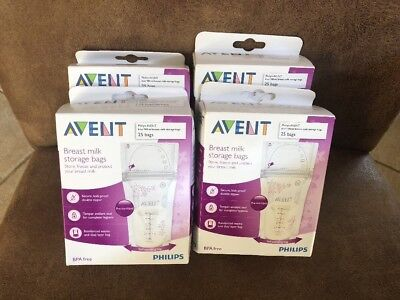 Lot of 4 Boxes Philips AVENT Breast Milk Storage Bags, 6 Ounce, 25 Count Each
