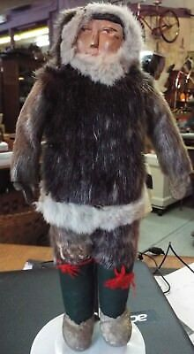 RARE antique Hand Made by Inuit Doll - Carved Wood Face, Sealskin Coat