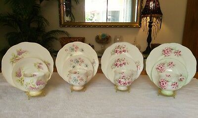 Vintage Queens Rosina English Bone China Teacups & Saucers Trio Set Of 4 Floral