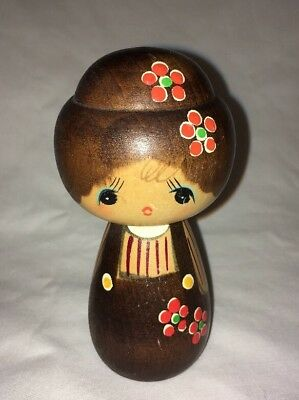 Vintage JAPANESE Signed Hand  Painted Design KOKESHI Doll CHERRY BLOSSOMS