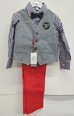 English Laundry 4-Piece Vest Set (Toddler Boys) NAVY/RED/WHITE SIZE 4T NEW