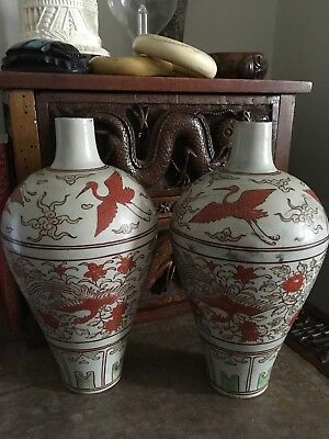 Fine Pair Of Chinese Qing Period Meiping Porcelain Pottery Vases