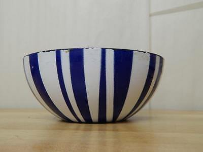 "Vintage 8"" Cathrineholm Blue & White Striped Enameled Bowl MCM Norway"