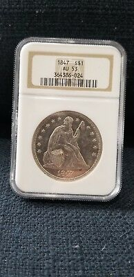 1847 $1 AU53 NGC Seated Liberty