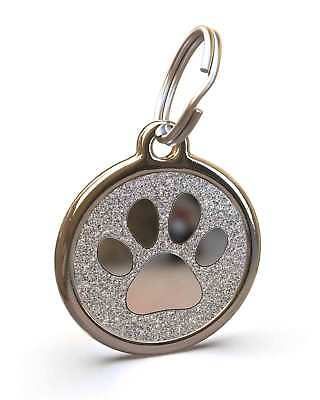 Pet Dog Cat ID Engraved Name Tag Personalised Stainless Steel Silver Glitter Paw