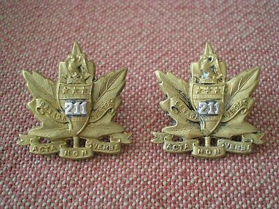 WW1 CEF Pair of 211th Canadian Infantry Battalion Officers Collar Badges