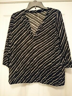 The Limited Women's Sheer Striped 3/4 Sleeve Blouse, Size M Black & White print