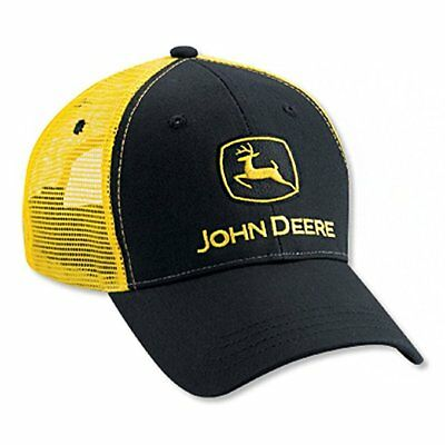 JOHN DEERE Black and Yellow Twill Mesh Snapback Cap Hat New