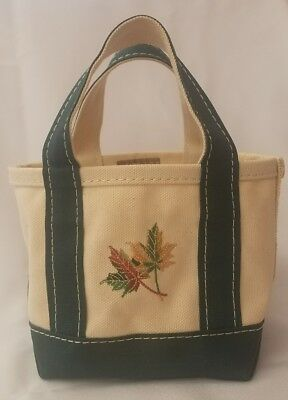 """Vintage LL Bean Mini Small Green Strap Boat and Tote Bag Fall Leaves 5"""""""