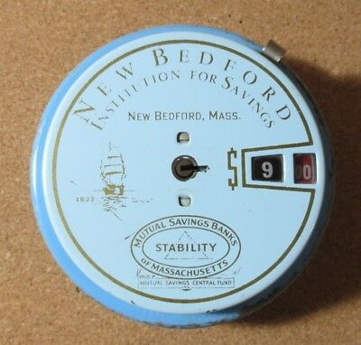 Vintage New Bedford Institution For Savings Bank Metal Piggy Coin Bank (P2669)