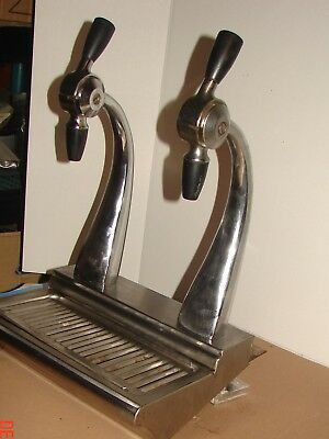 Vintage Dual Soda Fountain Faucet Complete System W/ Spill Tray & Housing
