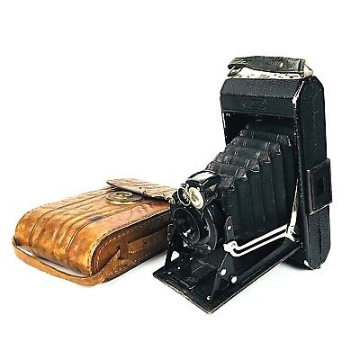 Vintage Zeiss Ikon Ikonta Folding Camera with Leather Carry Case