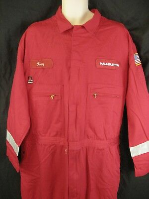 Team Halliburton Mens Red FR Flame Resistant Full Body Coveralls Size 52