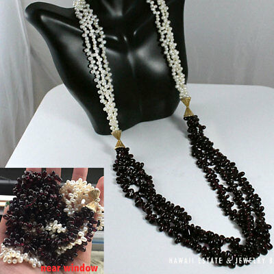 Vintage Rhodolite Garnet & Freshwater Cultured Pearls 14K Gold Necklace 30.5""