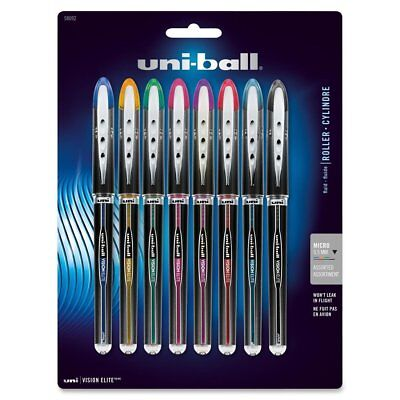 8 UNIBALL VISION ELITE MICRO FINE 0.5mm ROLLERBALL PENS Assorted Colors