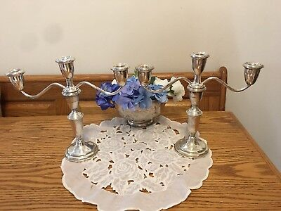 Pair of Vintage Empire STERLING Silver Candelabra 3-Arm Candle Holders (2 LBS)