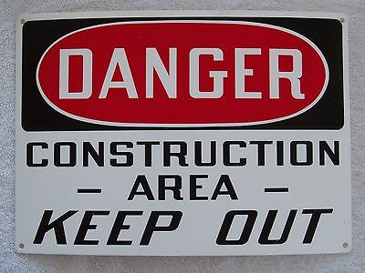 """DANGER CONSTRUCTION AREA KEEP OUT - 14"""" x 10"""" Plastic Sign Safety"""