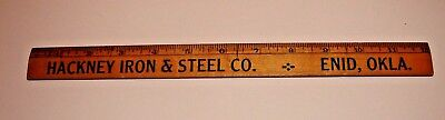Vintage Wooden Maple Ruler: HACKNEY IRON & STEEL, ENID OK