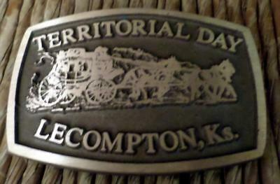 Vintage Brass Belt Buckle promoting Territorial Days Lecompton Kansas Stagecoach