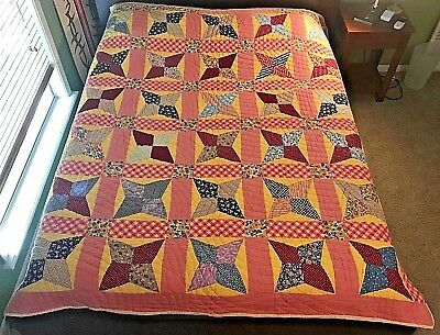 "VINTAGE ANTIQUE Four Point Star/ Pinwheel Quilt  FEEDSACK PRINTS 70"" X 83"""