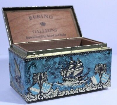Vintage Cigar Box Bering Galleon Chest Teal Ship Painted Original Sticker