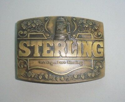 "STERLING ""Pure Sterling"" Beer Belt Buckle- RARE Vintage 1977 Indiana Metal Craft"