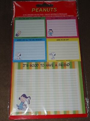 Peanuts Snoopy 5 Piece Sticky Note Pads-40 Sheets Per Pad-Free Shipping-New