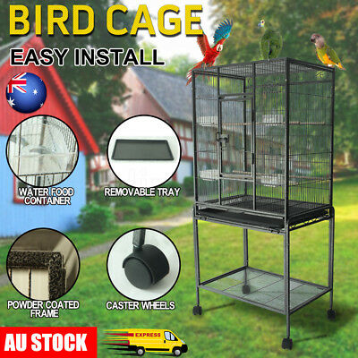 Parrot Aviary Bird Cage Stand Alone Budgie Perch Castor Wheels Large 135cm Black