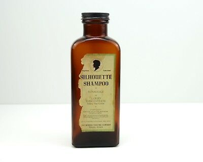 Vintage Amber Glass Silhouette Shampoo Bottle with Cap