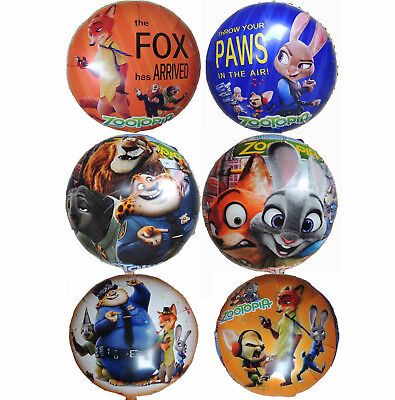 4Pcs Zootopia Judy Nick Birthday Balloon Party Lolly Bag Filler Gift Favor Decor